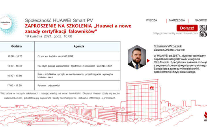 Huawei a nowe zasady certyfikacji falowników. Szkolenie on-line
